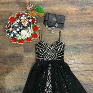 City Studio Black and Silver Sequin Dress